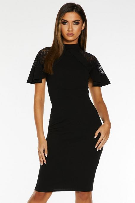 Black Lace Frill High Neck Midi Dress