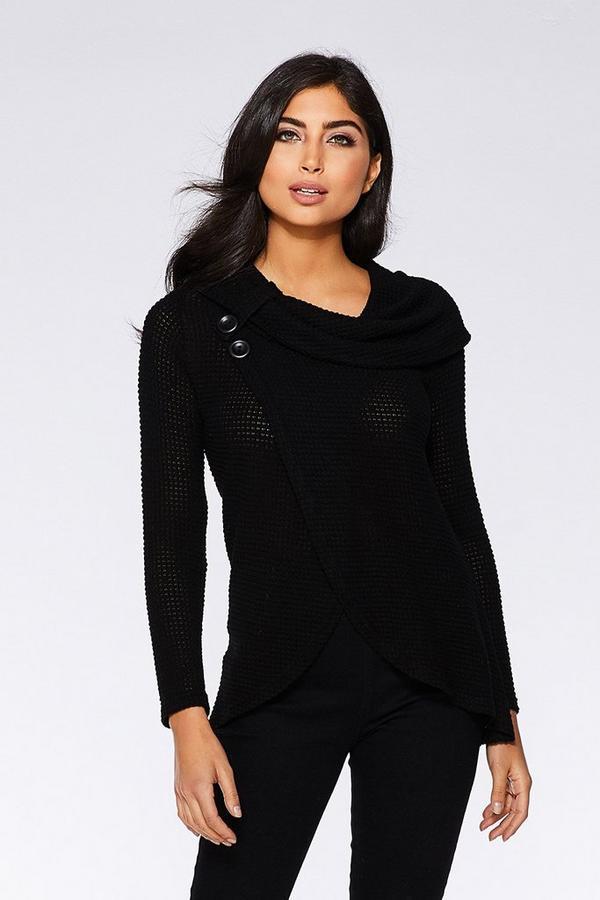 Black Light Knit Button Long Sleeve Wrap Top
