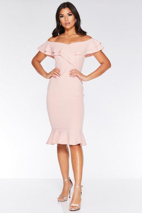 Pink Off The Shoulder Frill Midi Dress