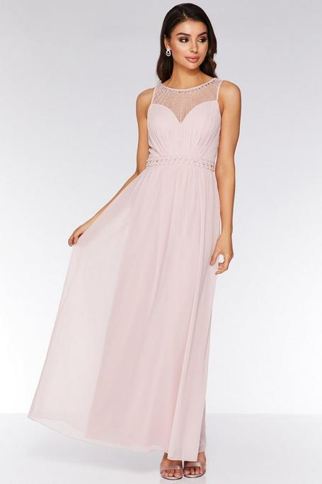 Pink Chiffon High Neck Maxi Dress