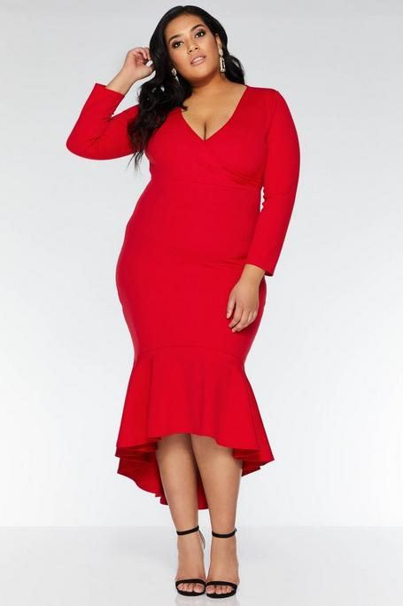 Plus Size Red Wrap 3/4 Sleeve Dip Hem Dress