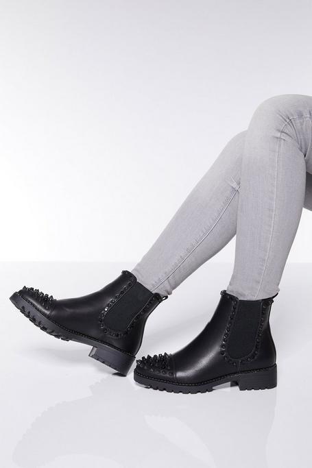 Black Stud Detail Ankle Boots