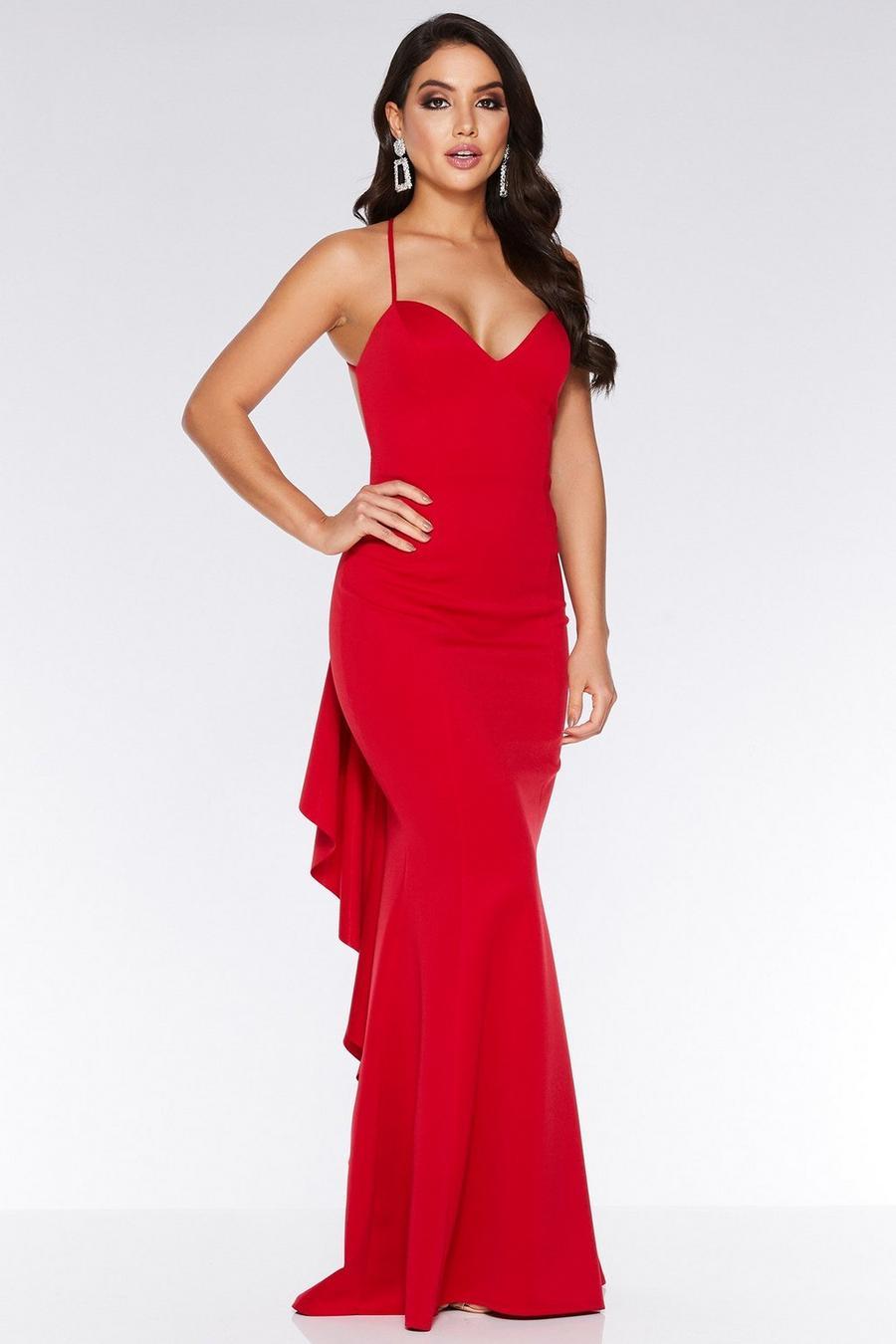 5e0f22482e89 Vestido Rojo de Espalda Descubierta y Volantes