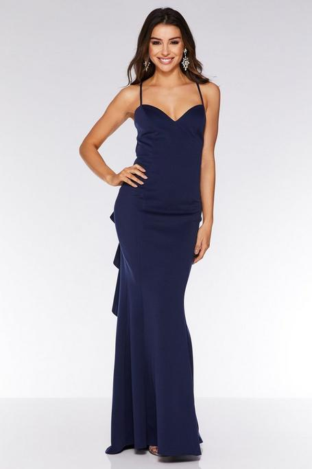 Navy Crossover Backless Ruffle Maxi Dress