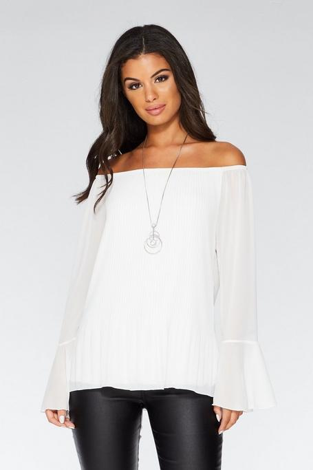 Cream Chiffon Pleated Off The Shoulder Necklace Top