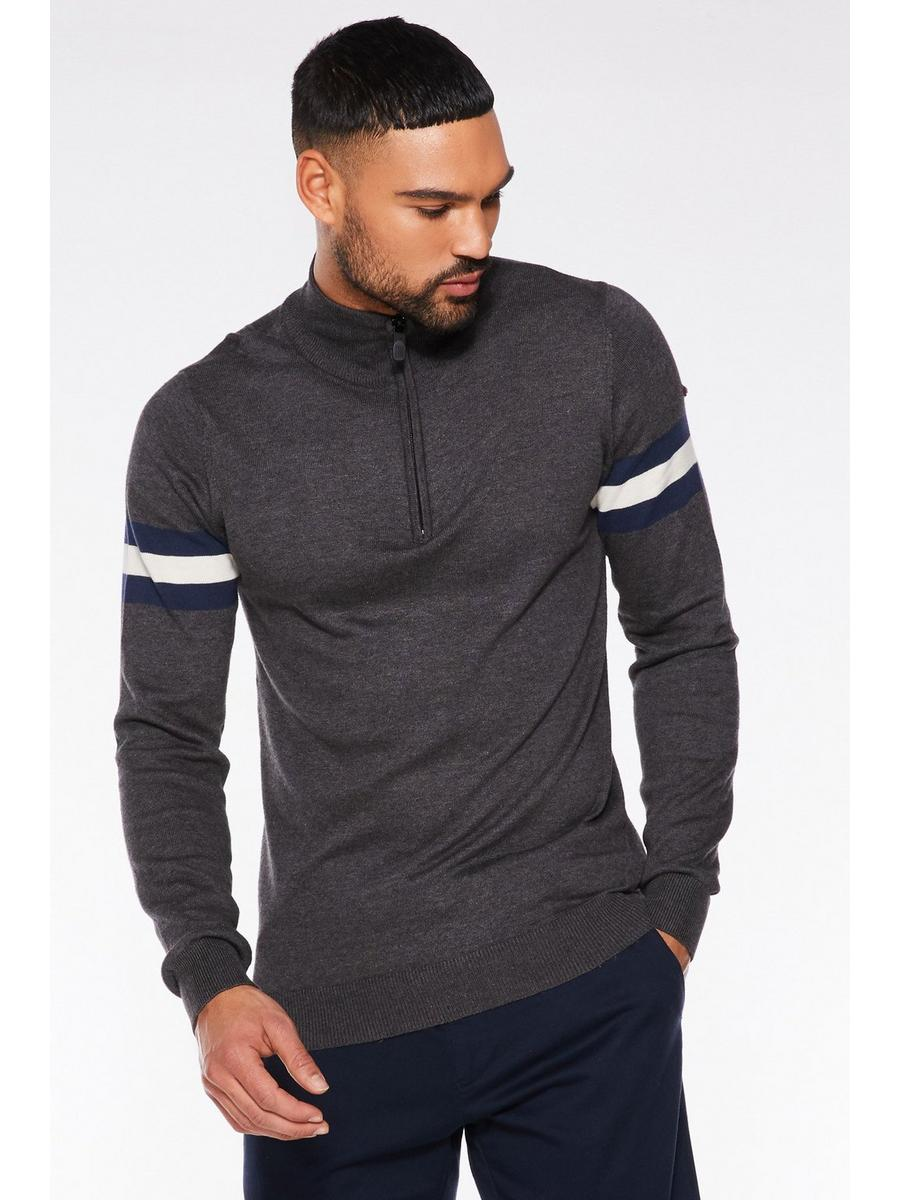 CHARCOAL 1/2 ZIP STRIPED SLEEVED JUMPER