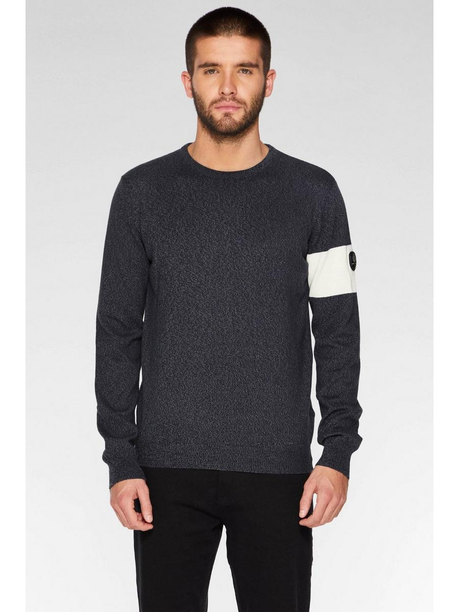 CHARCOAL SINGLE SLEEVE STRIPE JUMPER