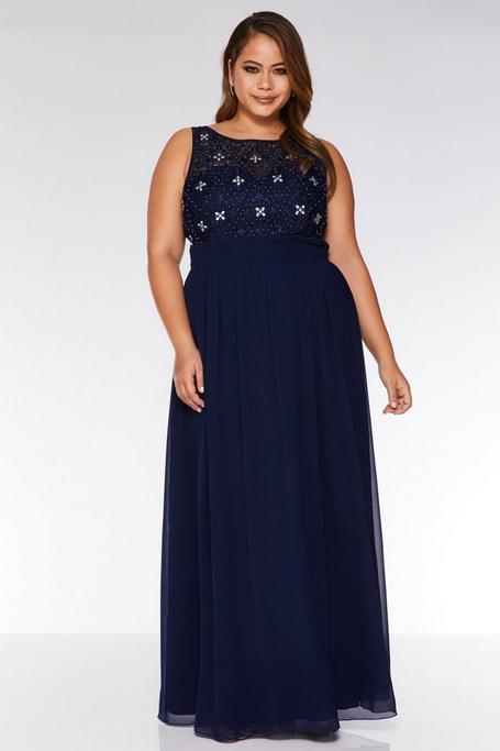 Plus Size Navy Chiffon High Neck Maxi Dress