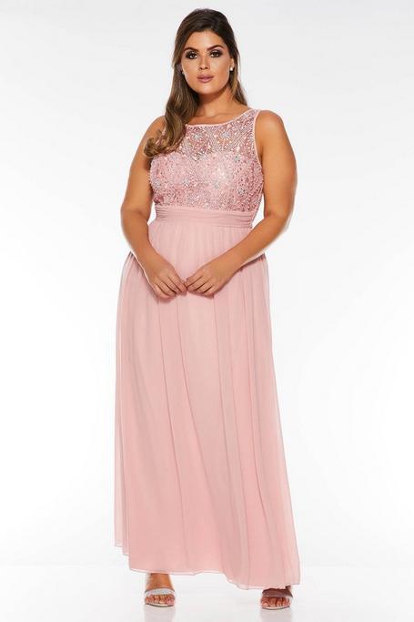 Vestido Curve Largo Rosa de Gasa con Lentejuelas