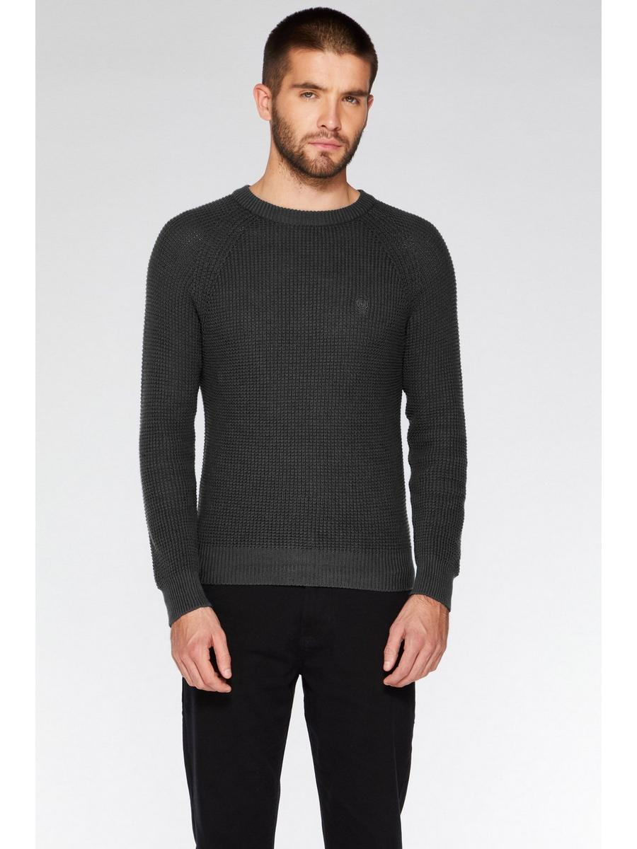 CHARCOAL CREW NECK WOVEN JUMPER