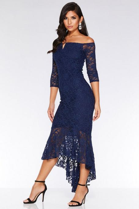Navy Glitter Lace Off The Shoulder Dip Hem Maxi Dress