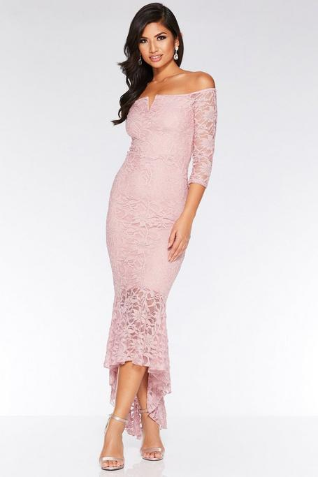 Pink Glitter Lace V Bar Dip Hem Maxi Dress