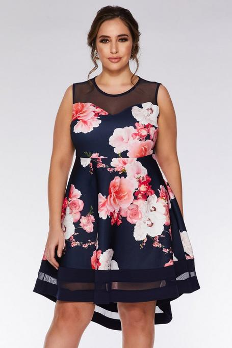 Plus Size Navy And Pink Floral Dip Hem Dress