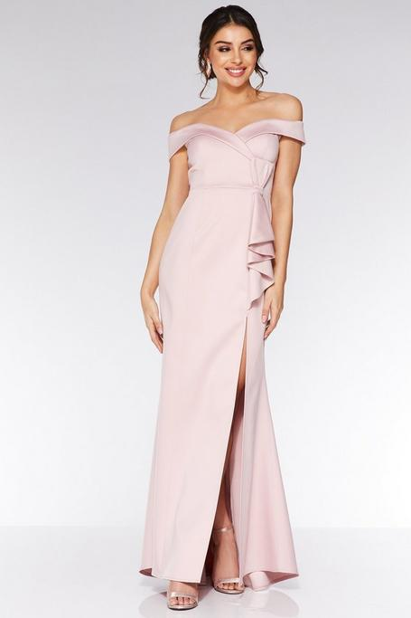 Nude Satin Off The Shoulder Bow Detail Maxi Dress
