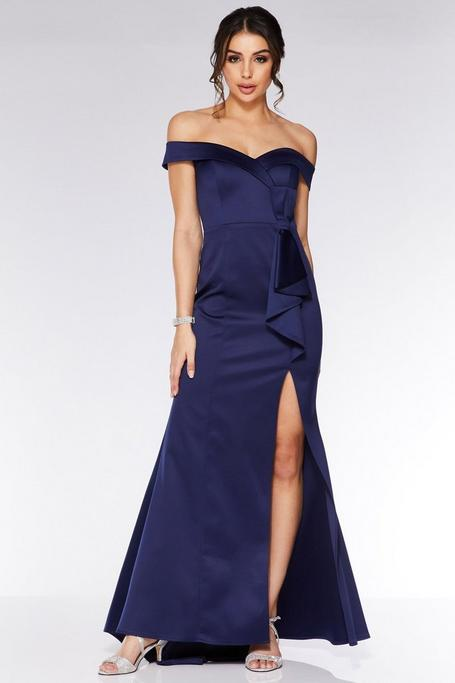 Navy Satin Off The Shoulder Bow Detail Maxi Dress