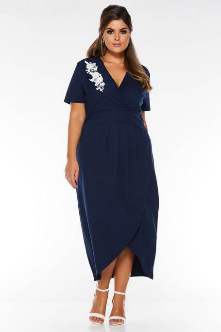 Plus Size Navy And Cream Embroidered Midi Dress