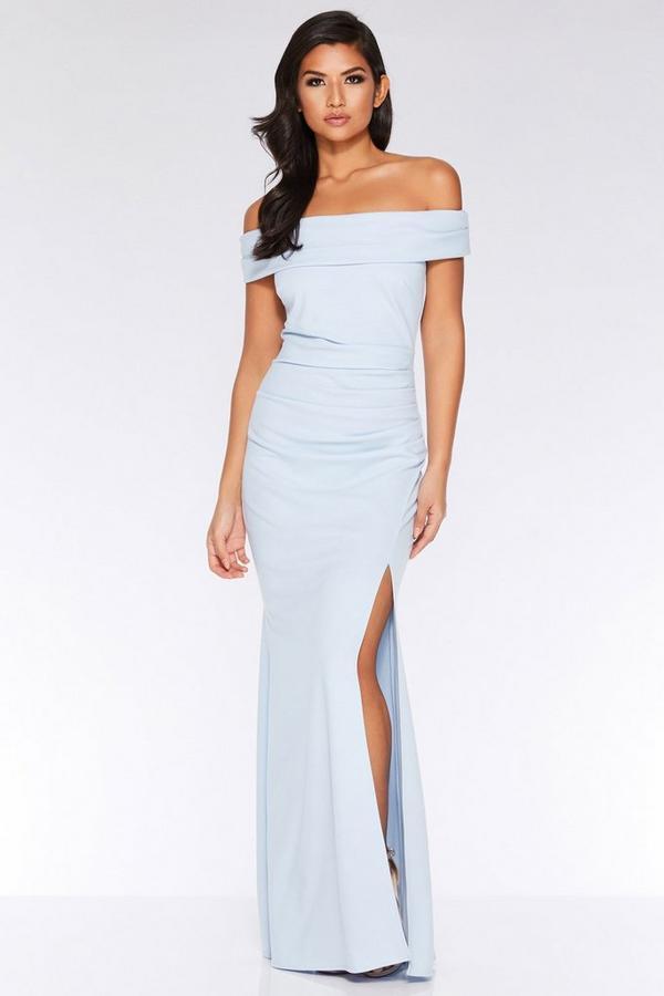 Vestido Largo Azul Claro con Escote Bardot y Abertura Lateral