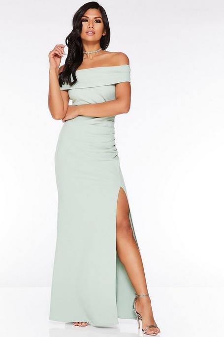 Green Off The Shoulder Ruched Split Maxi Dress