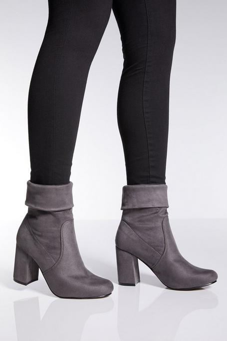 Gray Faux Suede Ankle Boots