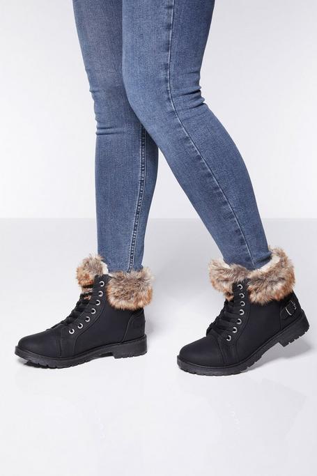 Black Faux Fur Trim Ankle Boot
