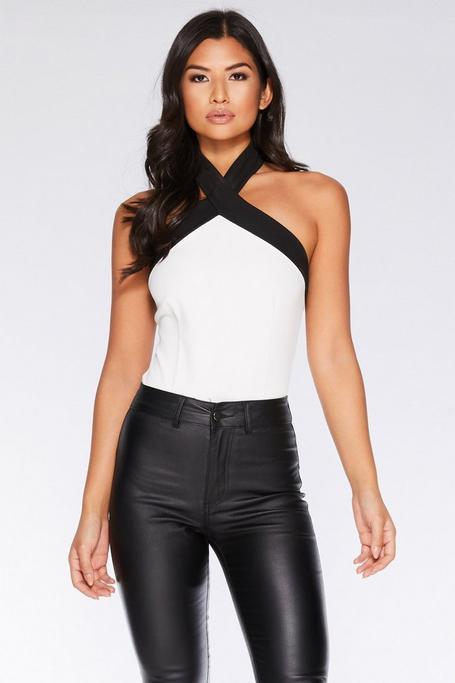 Black And White Halterneck Bodysuit