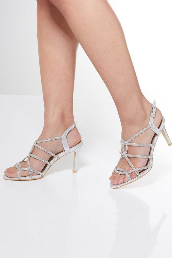 Sandalias de Tacón Plateadas con Brillantes