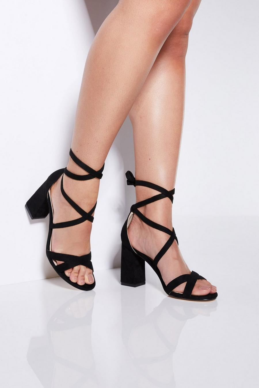 978f4555f80 Black Tie Up Block Heel Sandals