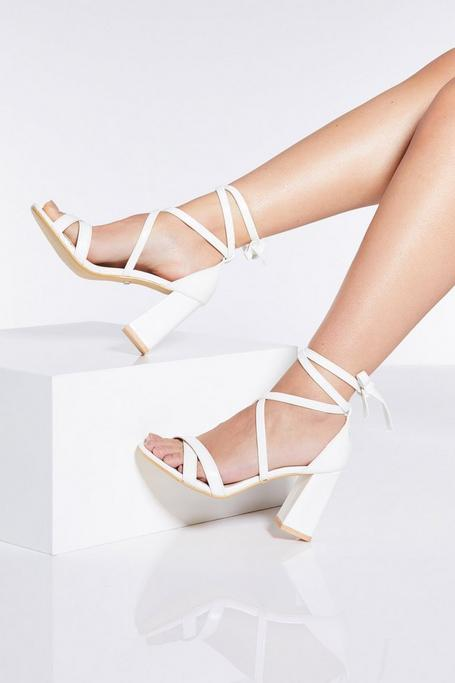 White Tie Up Block Heel Sandals