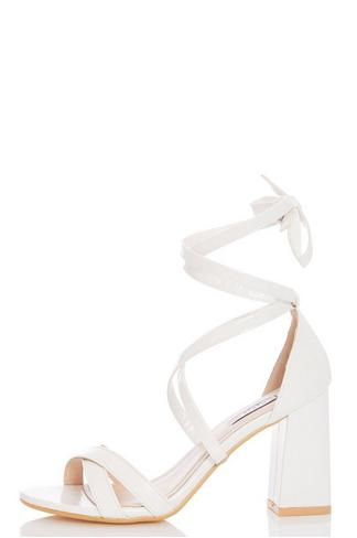 70ebbce6740 White Tie Up Block Heel Sandals