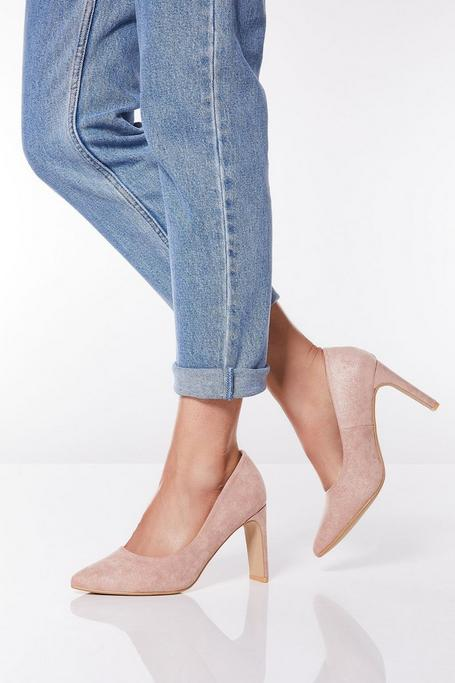 Blush Shimmer Faux Suede Point Court Shoes