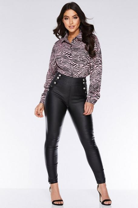 Black High Waisted Button Skinny Jeans