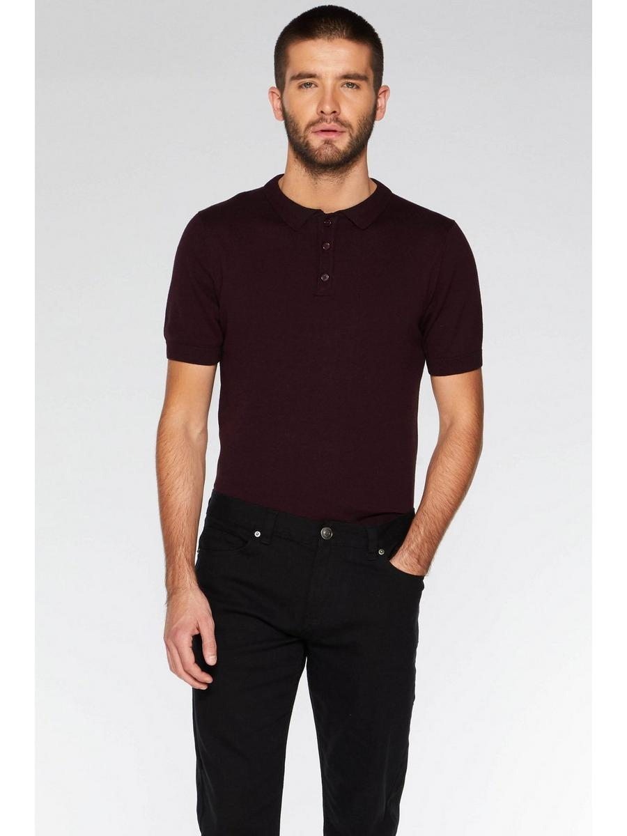 BURGUNDY KNITTED POLO SHIRT