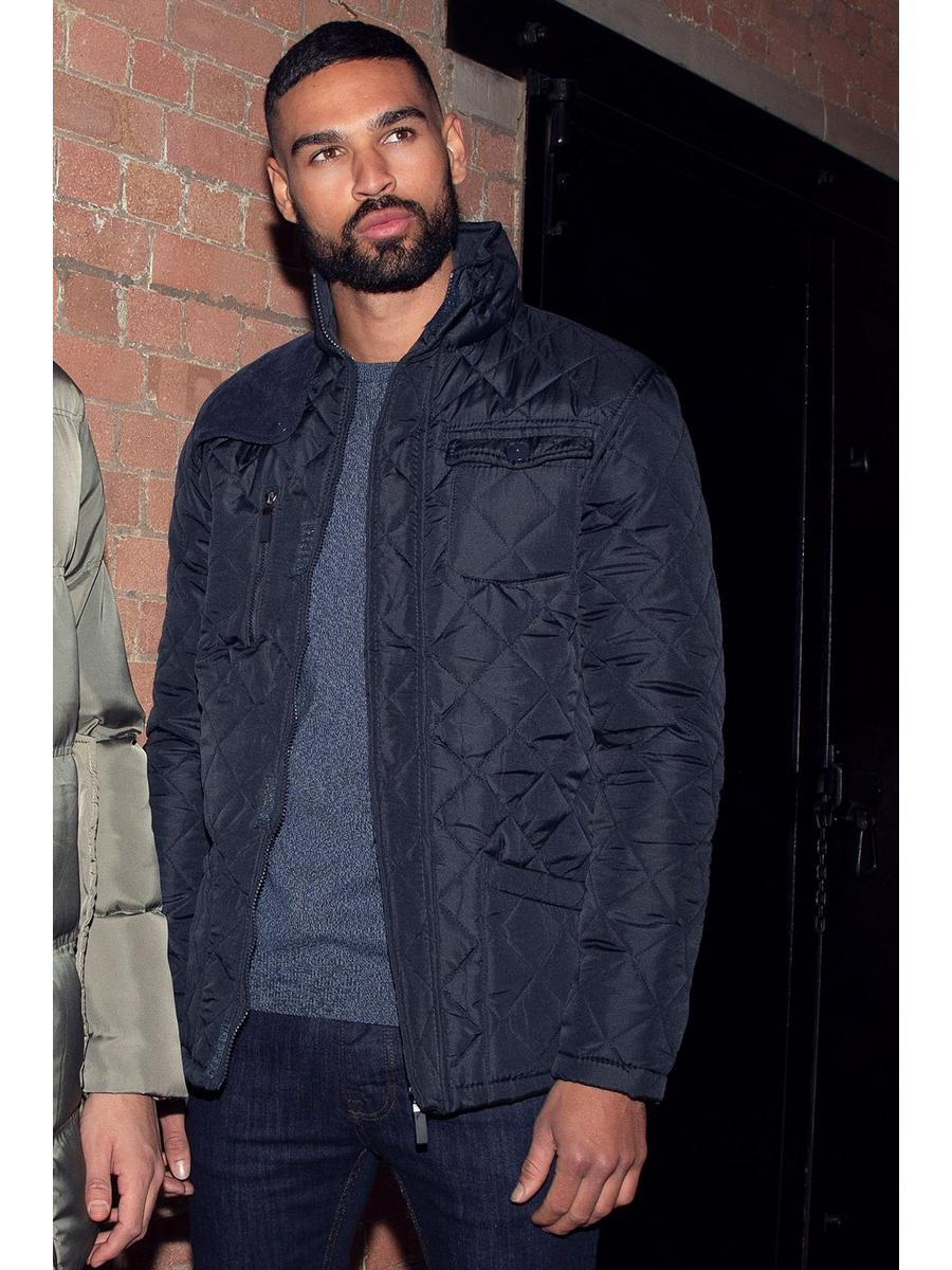 NAVY QUILTED CORD SHOULDER PATCH JACKET