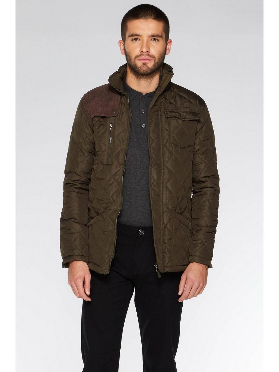 OLIVE QUILTED CORD SHOULDER PATCH JACKET