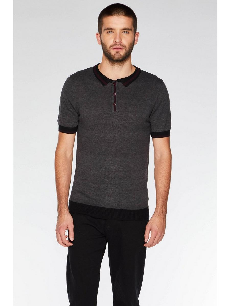 CHARCOAL CONTRAST KNIT POLO SHIRT