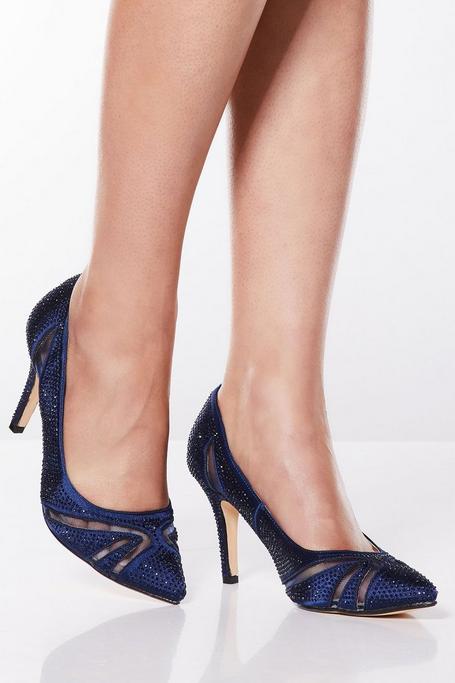 Zapatos de Tacón Azul Marino con Pedrería
