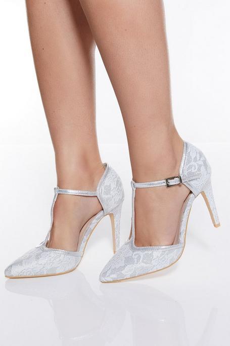 Zapatos de Tacón Plateados con Purpurina