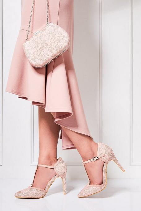 Zapatos de Tacón Rosa con Purpurina