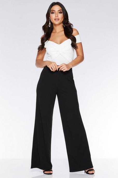 Cream and Black Knot Front Palazzo Jumpsuit