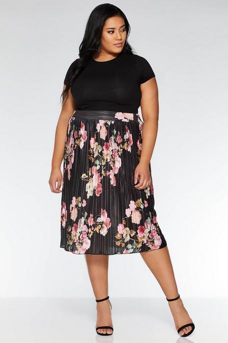 Plus Size Black Floral Pleat Midi Skirt