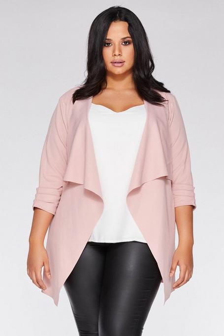 Plus Size Pink 3/4 Sleeve Waterfall Jacket
