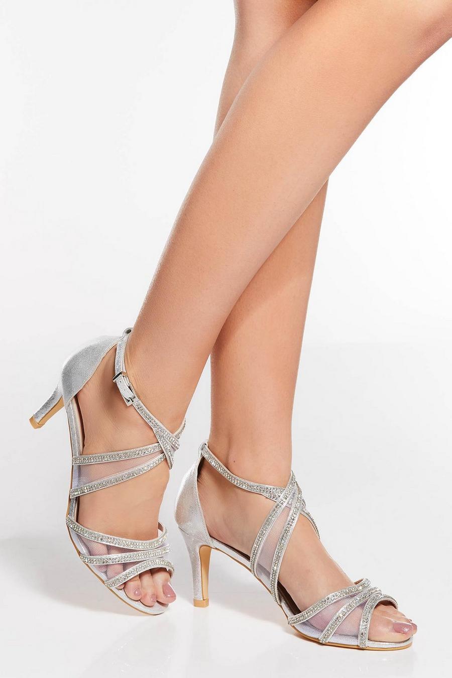 5875702726f Silver Shimmer Diamante Low Heel Sandals - Quiz Clothing