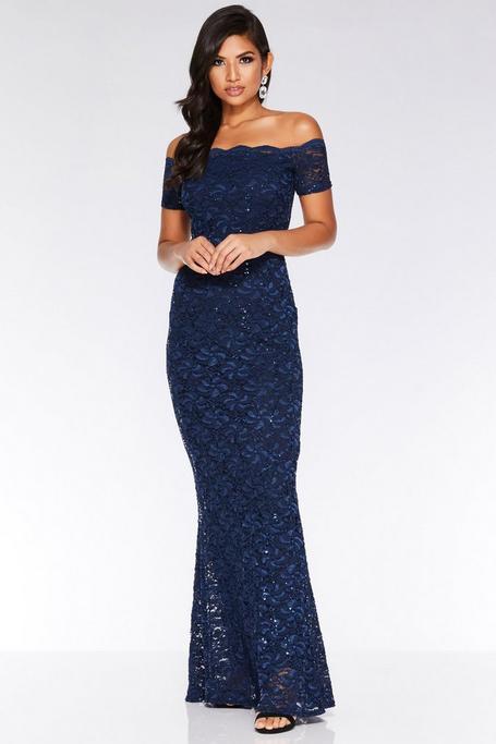 Vestido Largo Azul Marino de Encaje y Escote Bardot