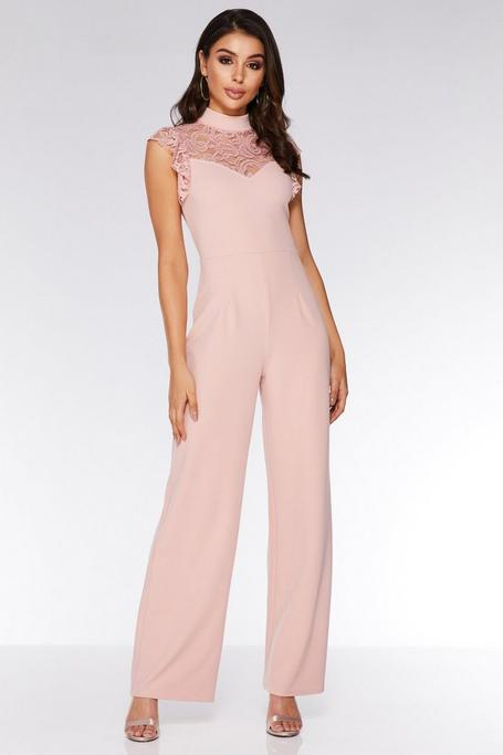 Dusky Pink Lace Frill High Neck Palazzo Jumpsuit