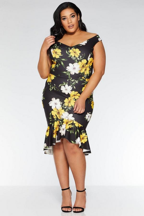 Vestido Midi Curve Negro y Amarillo Estampado de Flores y Cuello Bardot