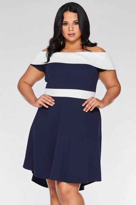 Plus Size Navy and Cream Off The Shoulder Dip Hem Dress