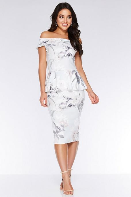 Grey And Pink Floral Bardot Midi Dress