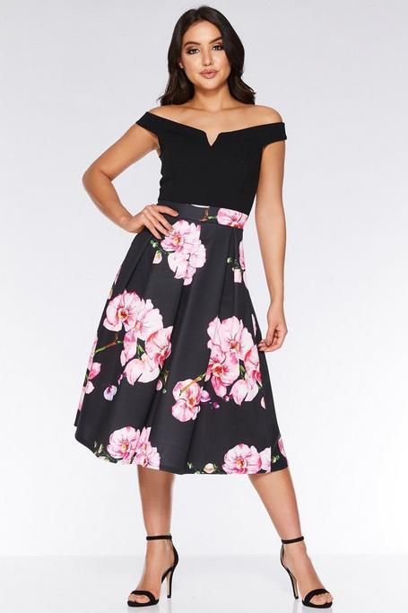 Black And Pink Off The Shoulder Floral Dress