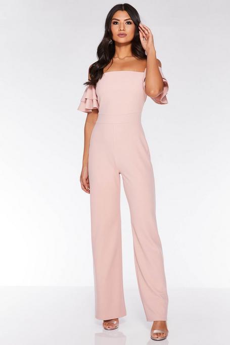 Dusky Pink Bardot Frill Palazzo Jumpsuit