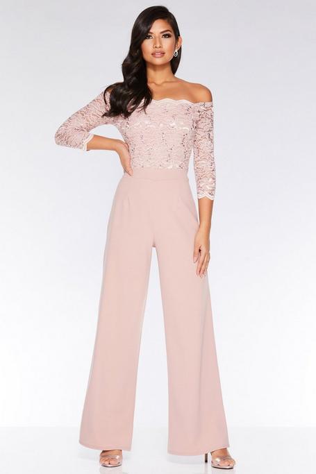 Dusky Pink Off The Shoulder Lace Sequin Scallop Jumpsuit